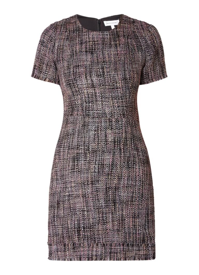 Warehouse Molly mini-jurk van tweed met gerafelde afwerking zwart