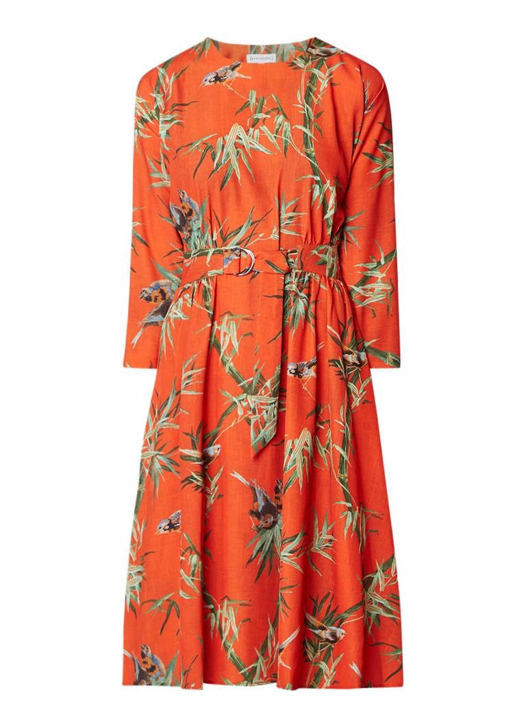 Warehouse A-lijn jurk met ceintuur met cut-out detail op achterpand oranjerood