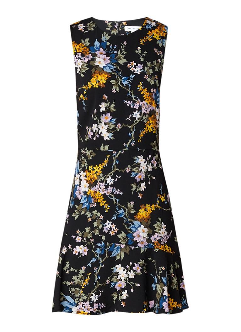 Warehouse A-lijn jurk met bloemendessin en golvende zoom zwart