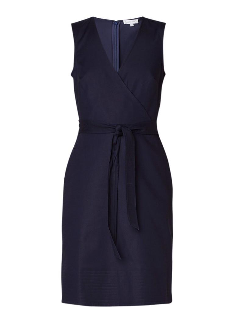 Warehouse Compact midi-jurk met overslag en ceintuur donkerblauw