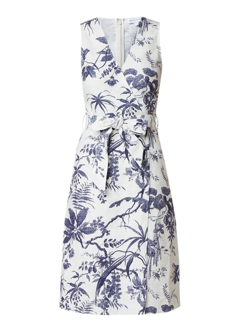Warehouse Lauren midi-jurk met bloemendessin ivoor