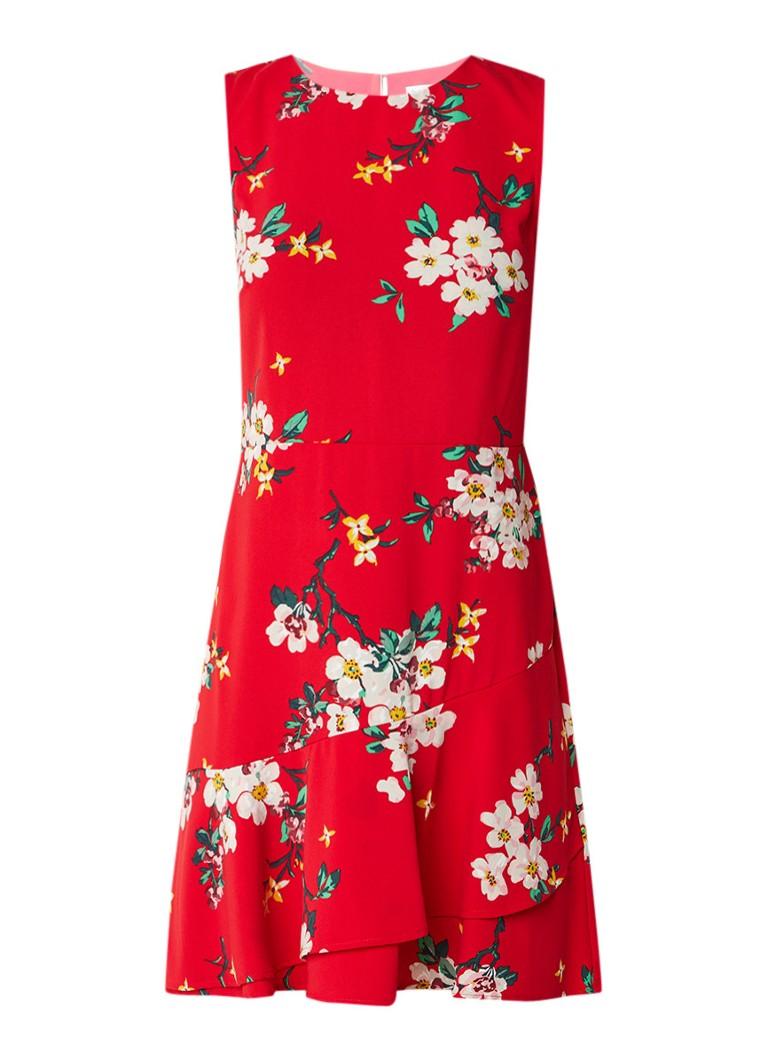 Warehouse Mouwloze jurk met volant en bloemendessin rood