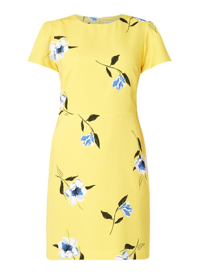 Warehouse A-lijn jurk met bloemendessin en volantmouw geel