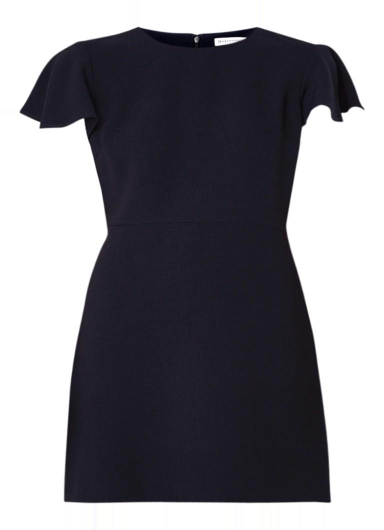 Warehouse A-lijn midi-jurk met volantmouw en structuur donkerblauw