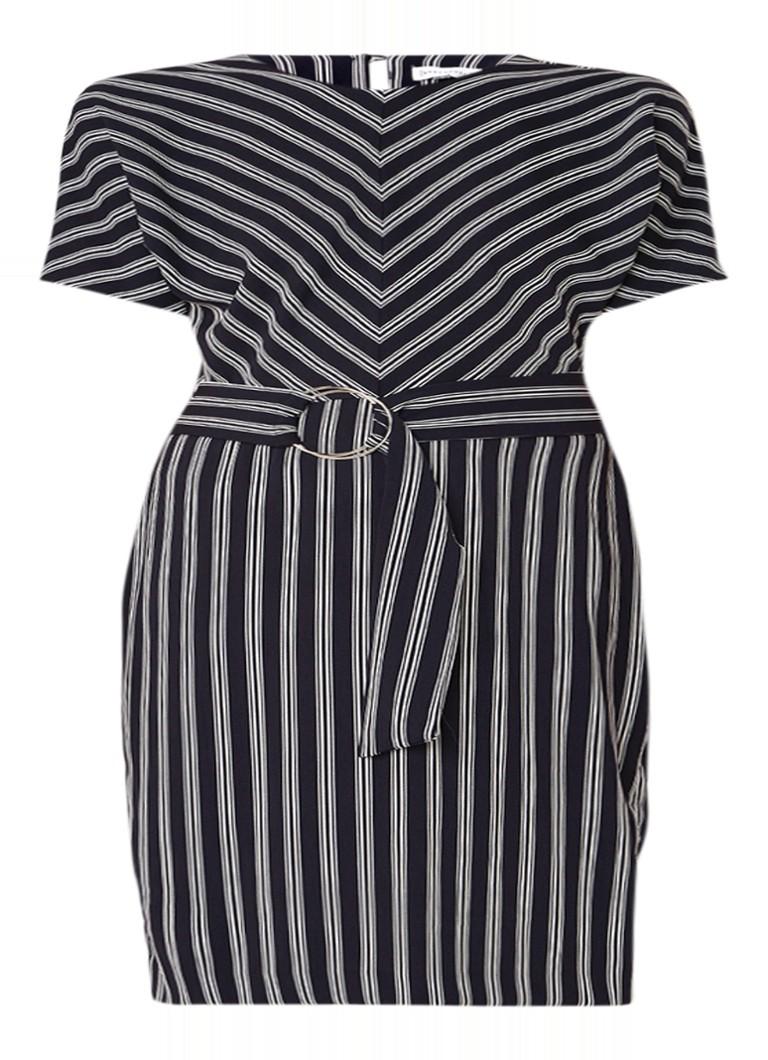 Warehouse Midi-jurk met contrasterend streepdessin en ceintuur wit