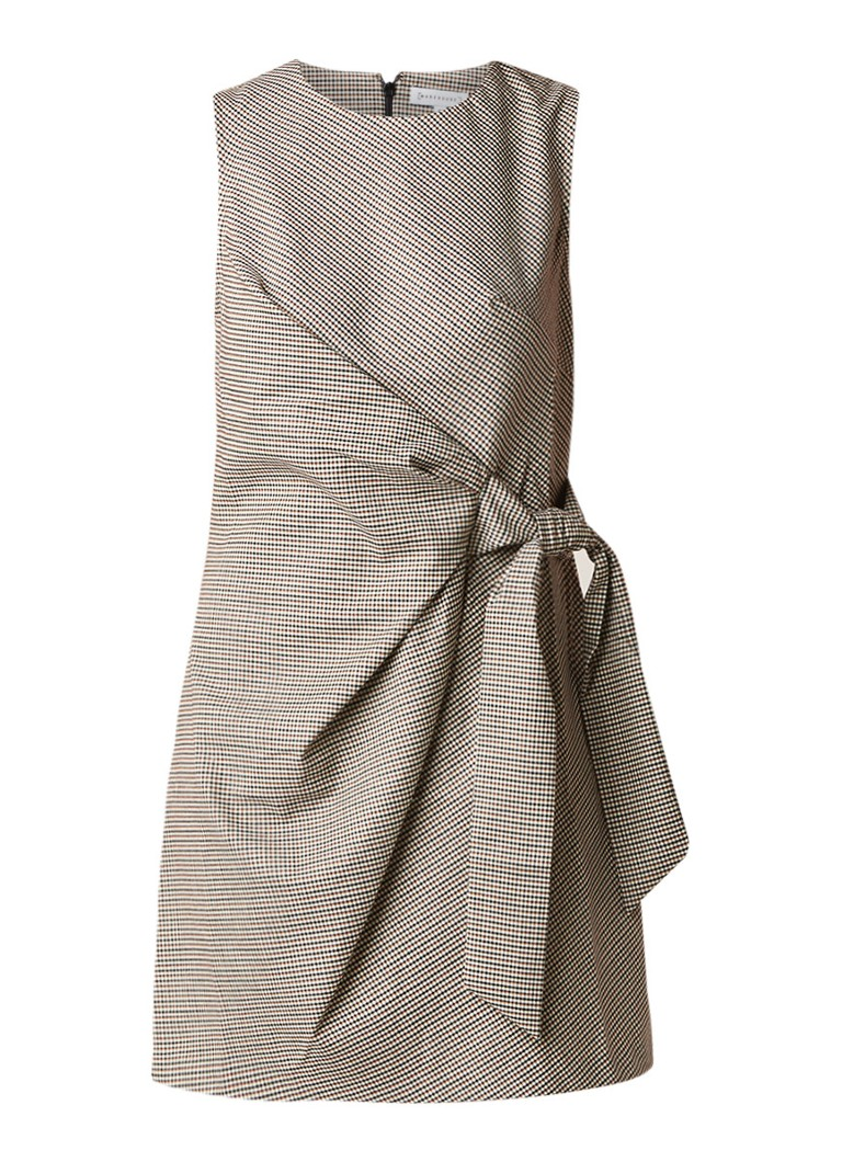 Warehouse Honey midi-jurk met micro ruitdessin en strikdetail bruin