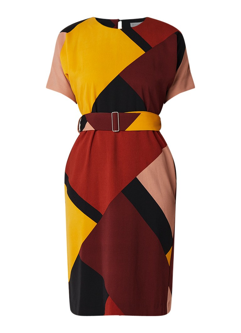 Warehouse Midi-jurk van crêpe met colourblocking en ceintuur multicolor