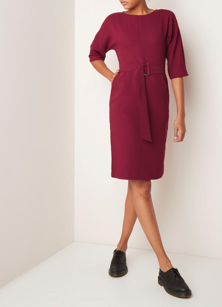 Warehouse Midi-jurk met ceintuur en steekzakken cranberryrood