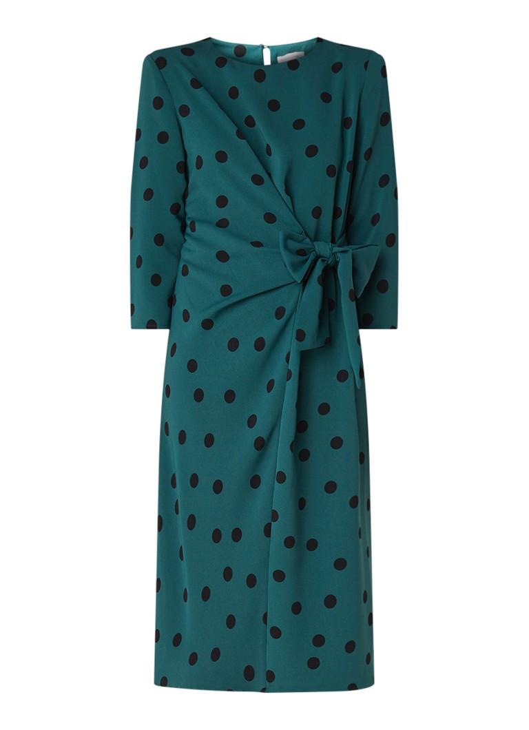 Warehouse Midi-jurk van crêpe met stippendessin donkergroen
