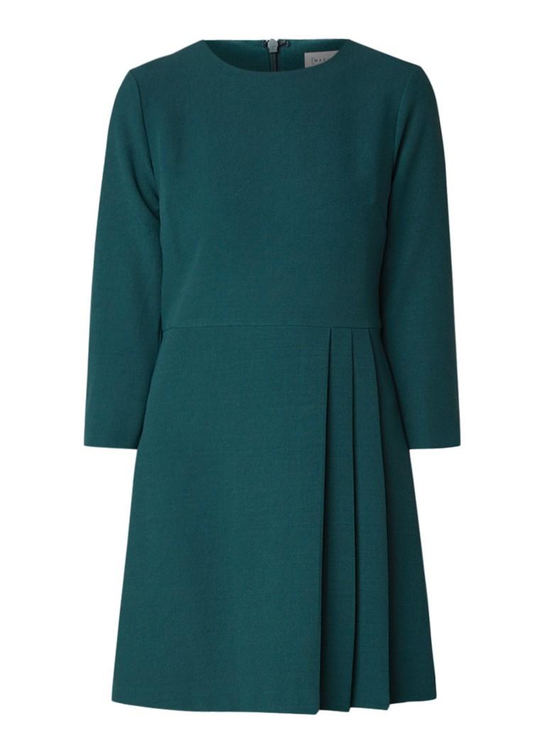 Warehouse A-lijn jurk van crêpe met plooien donkergroen