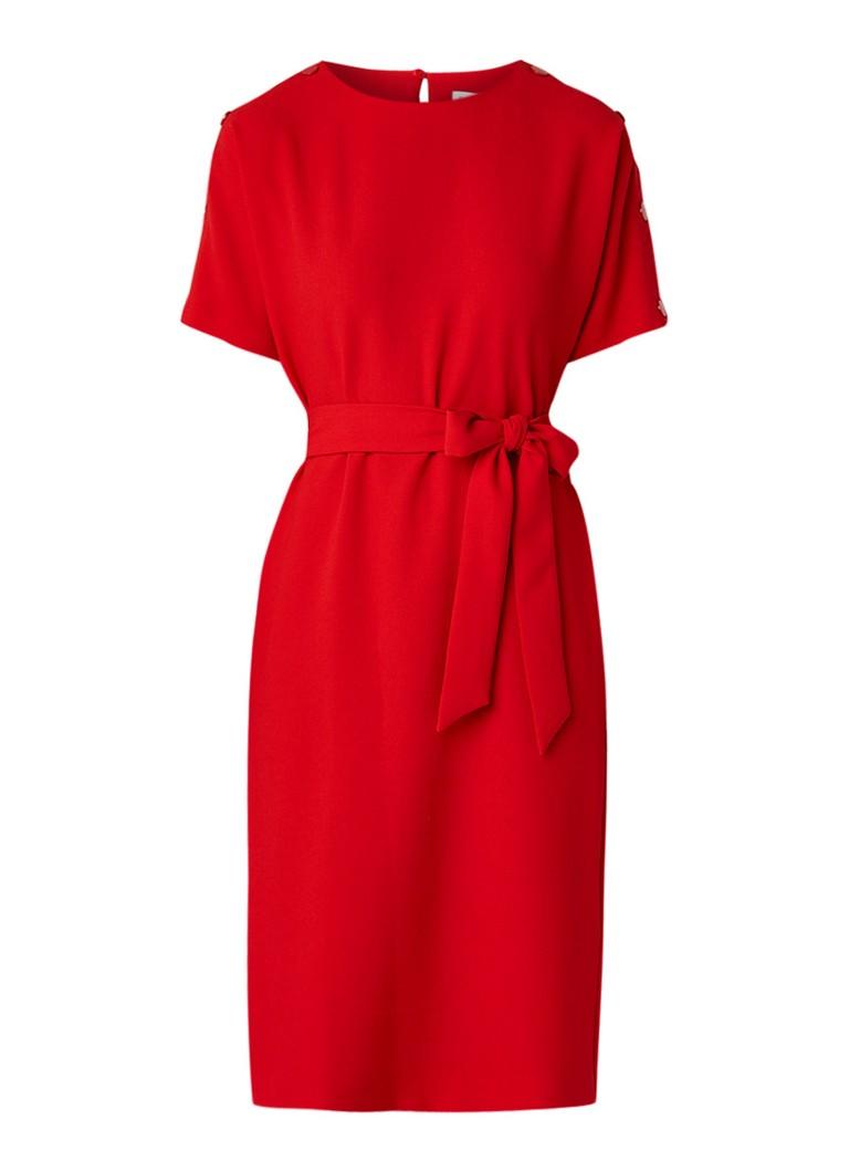 Warehouse Midi-jurk van crêpe met strikceintuur en knopendetail rood
