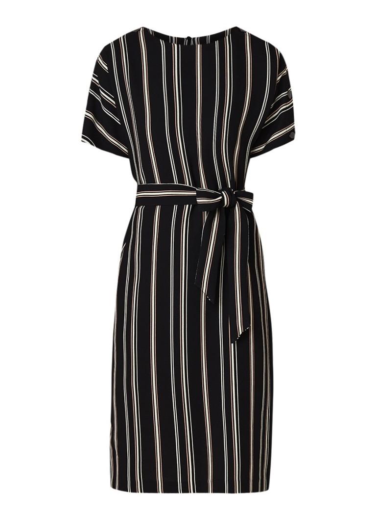 Warehouse Midi-jurk van crêpe met strikceintuur en streepdessin zwart