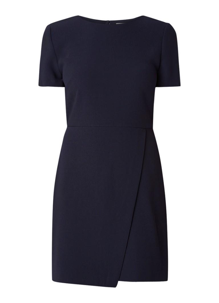 Warehouse Midi-jurk van crêpe met overslag en keyhole staalblauw