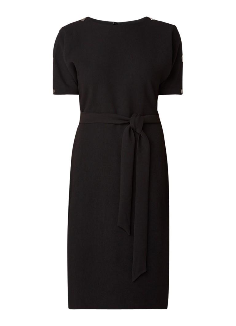 Warehouse Midi-jurk van crêpe met strikceintuur en knopendetail diepzwart