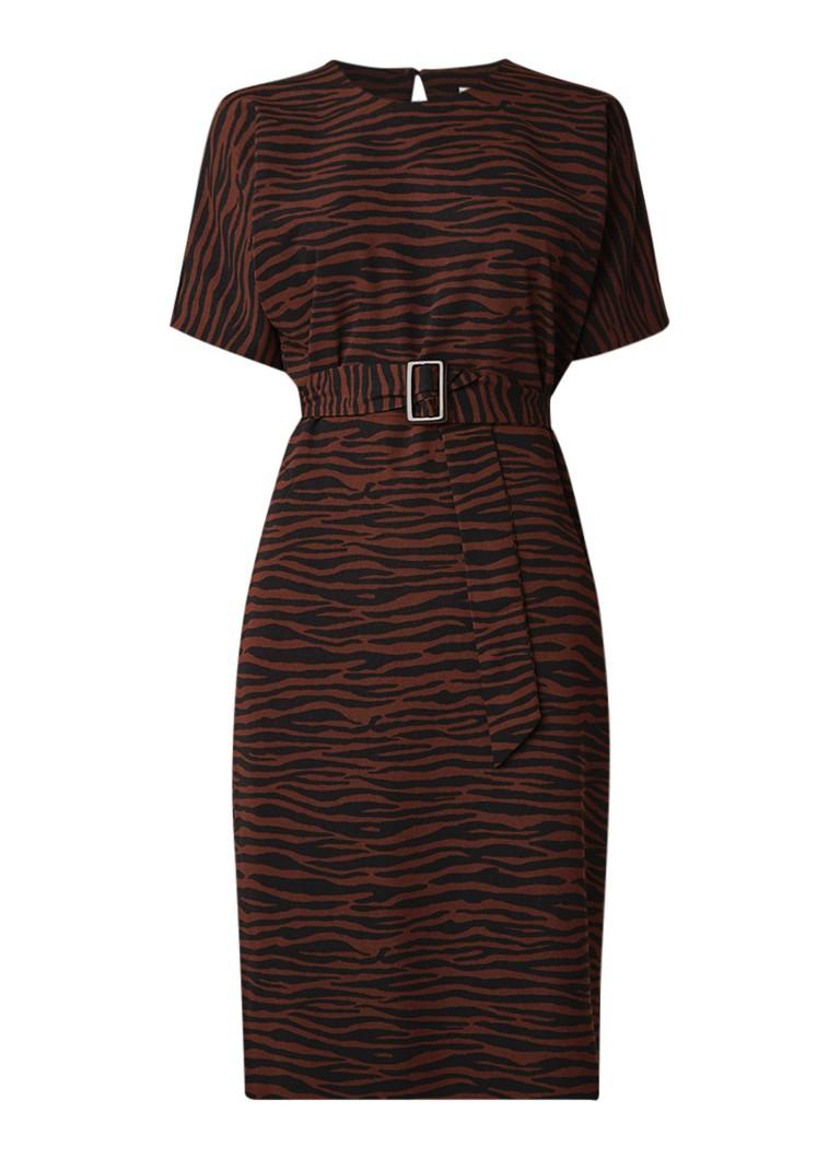 Warehouse Zebra midi-jurk met ceintuur bruin