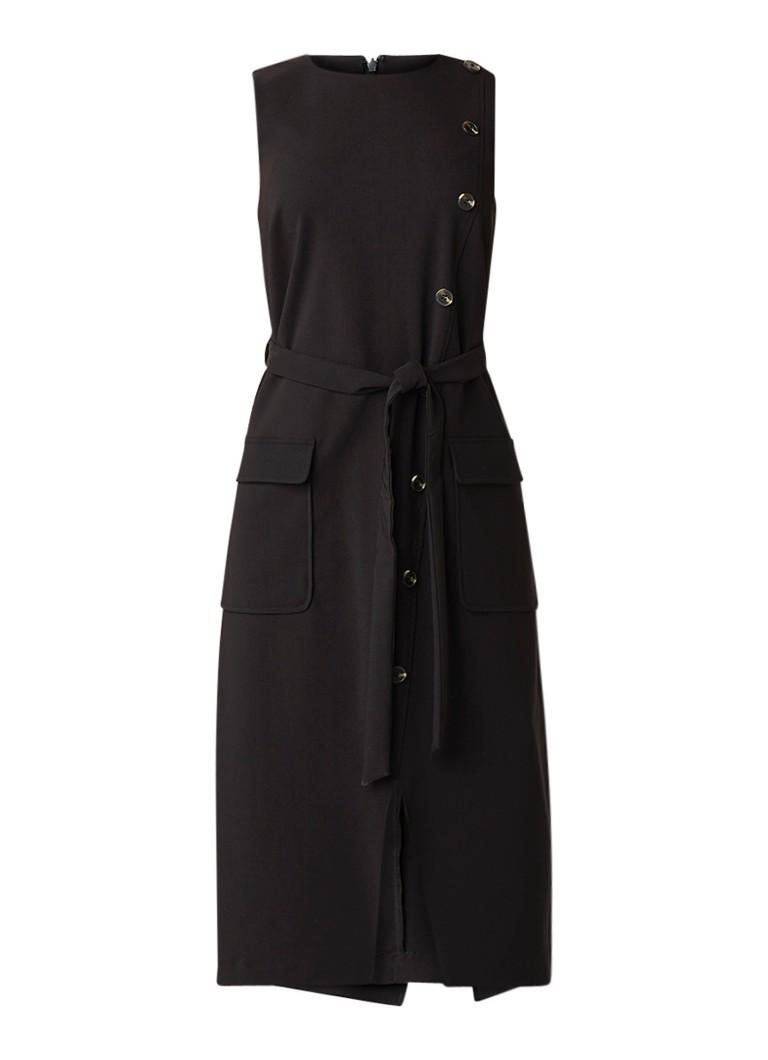 Warehouse Mouwloze midi-jurk met sierknopen en strikceintuur diepzwart