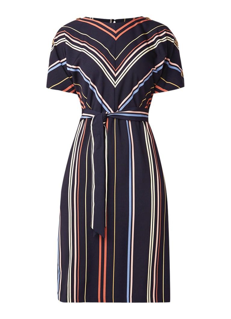 Warehouse Georgia midi-jurk met streepdessin en strikceintuur donkerblauw