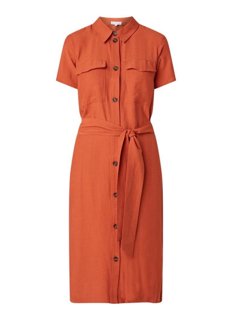Warehouse Blousejurk van linnen met borstzak oranjebruin