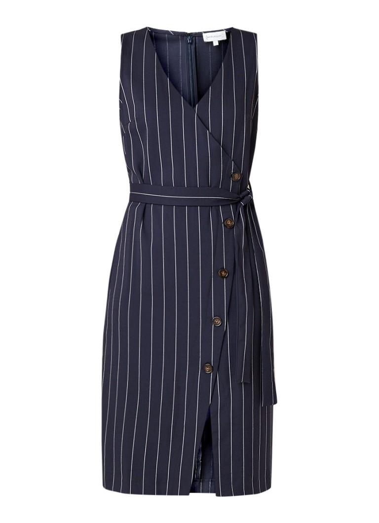 Warehouse Mouwloze doorknoopjurk met streepdessin en strikceintuur donkerblauw