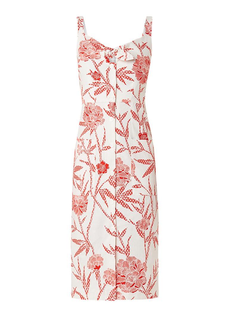 Warehouse Doorknoopjurk met bloemendessin en strikdetail rood