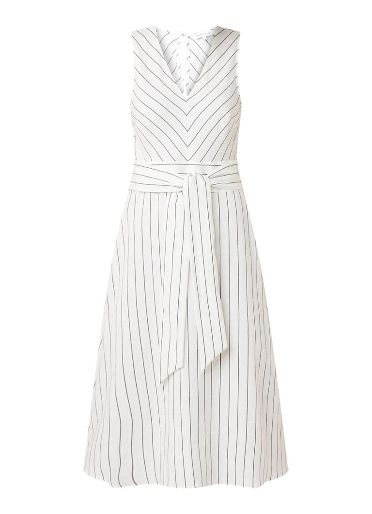 Warehouse Midi-jurk met streepdessin en strikceintuur gebroken wit