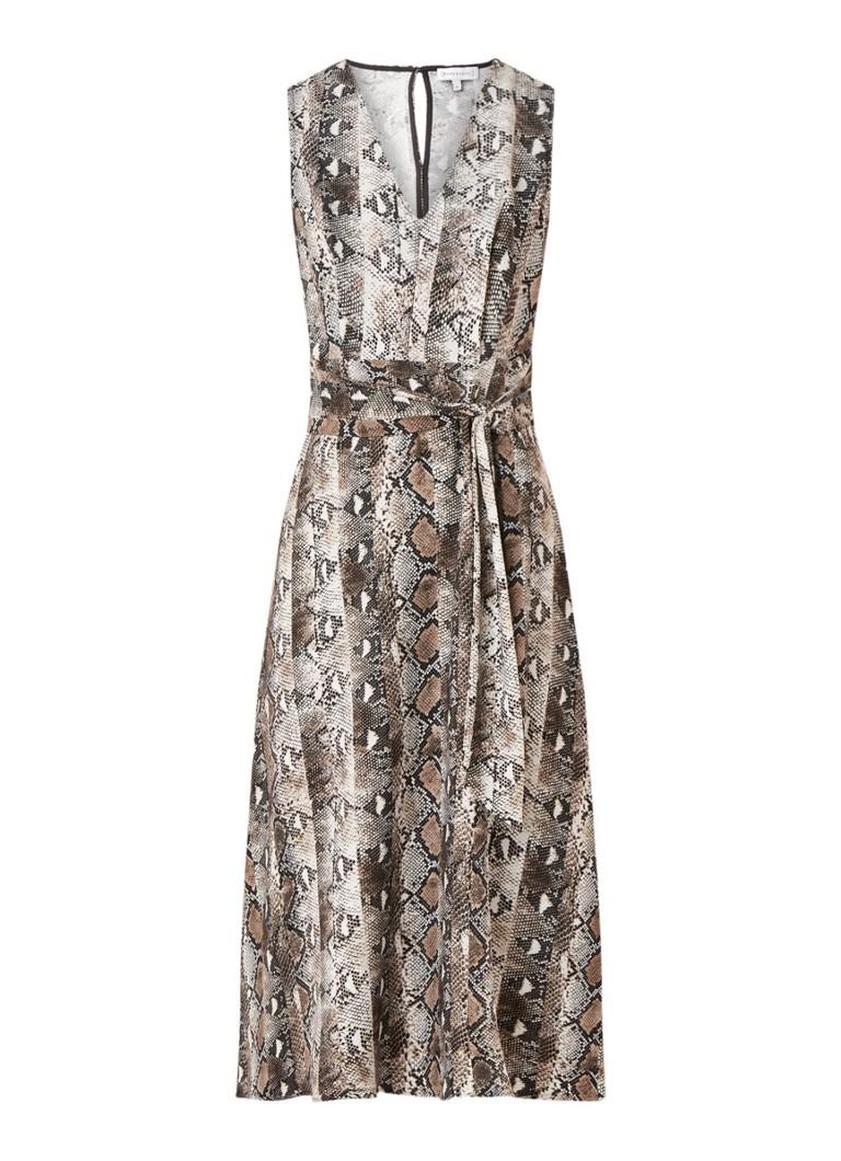 Warehouse Mouwloze midi-jurk met slangendessin en rugdecolleté taupe