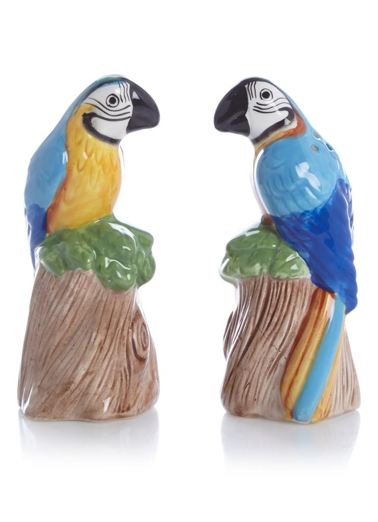&Klevering Parrot zout- en peperstrooier van porselein 11,5 cm
