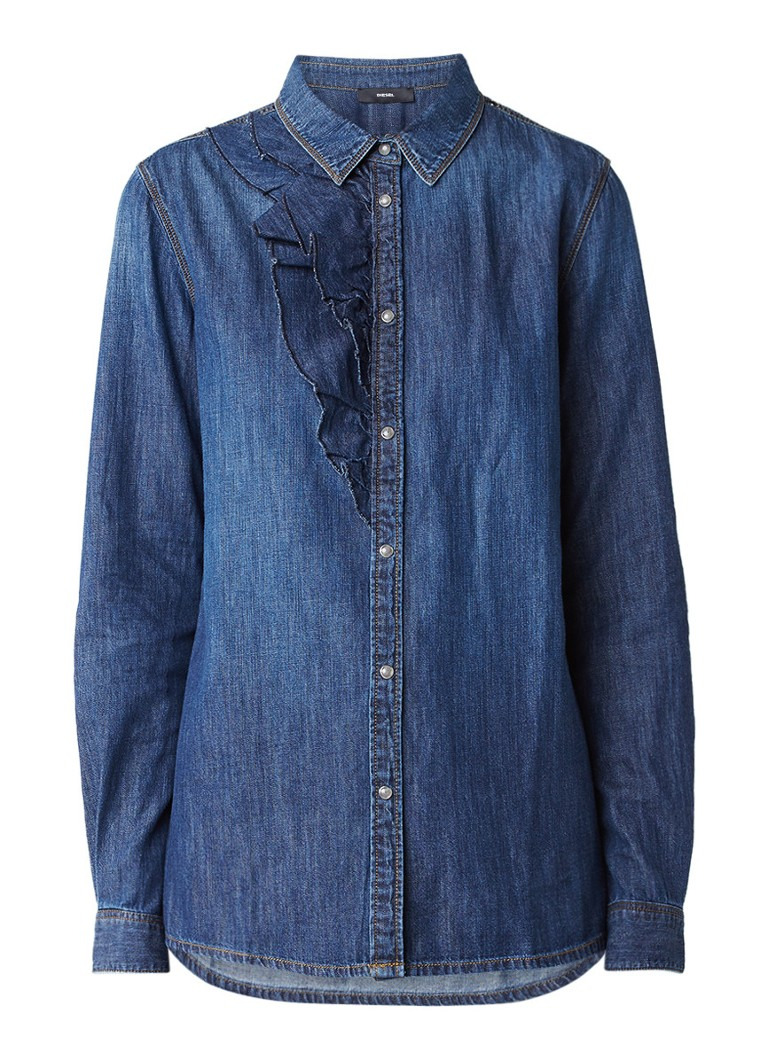 Diesel DE-Kelly blouse van denim met ruches