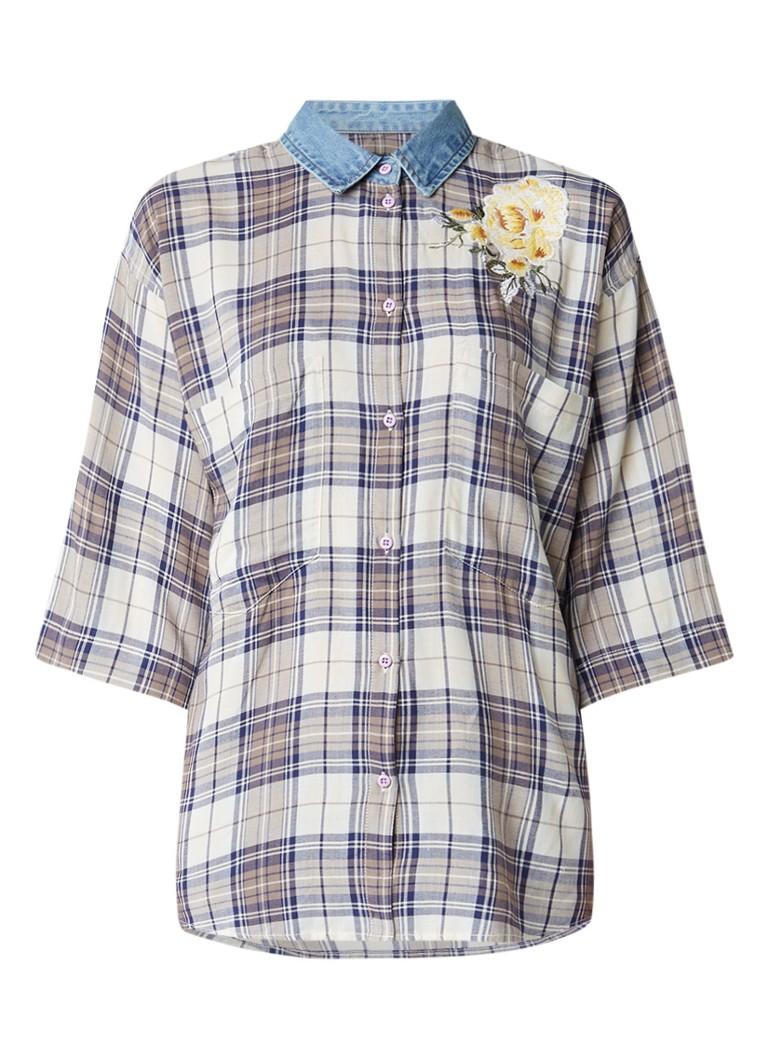 Diesel C-Lexine blouse met ruitdessin en borduursel