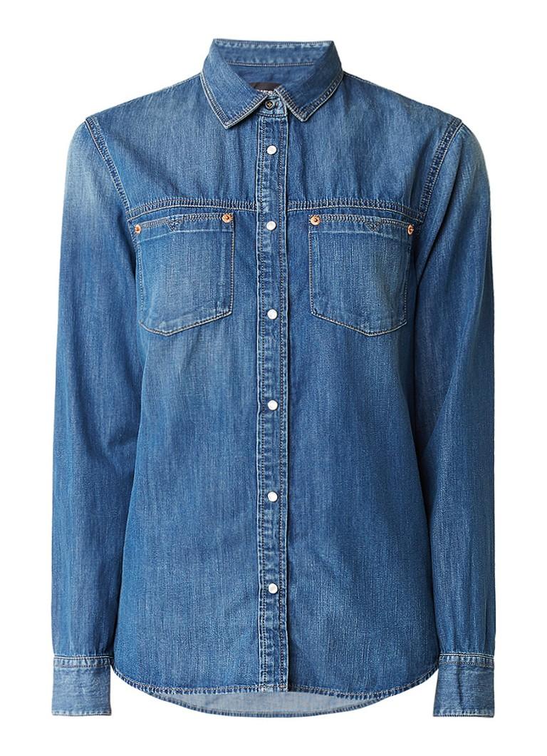 Diesel DE-Keri blouse van denim met drukknopen