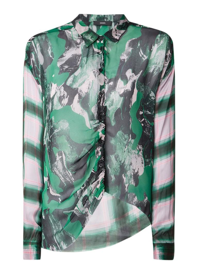 Diesel C-Lois semi-transparante blouse met gerafelde zoom
