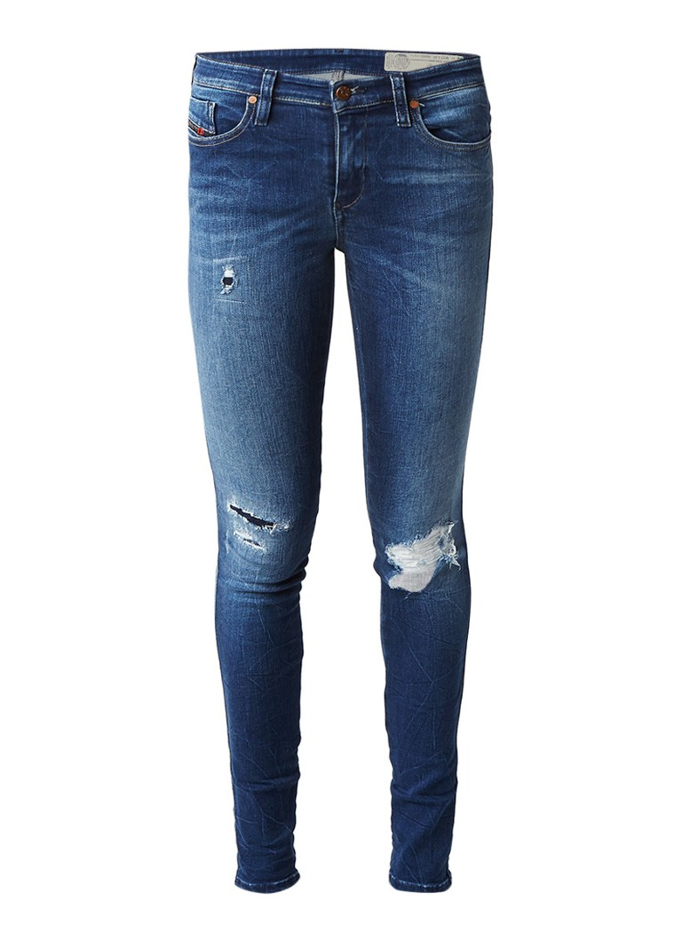 Diesel Skinzee mid rise super slim skinny fit jeans met destroyed detail