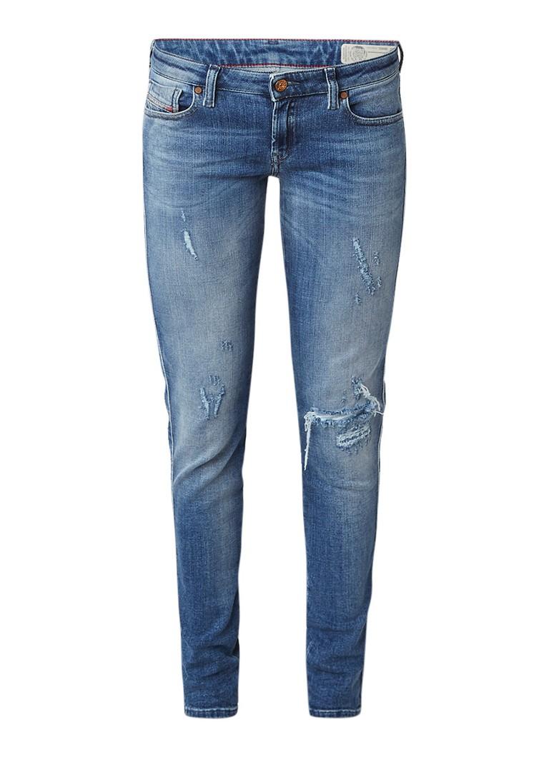 Diesel Gracey low rise skinny fit jeans met destroyed detail 084GL