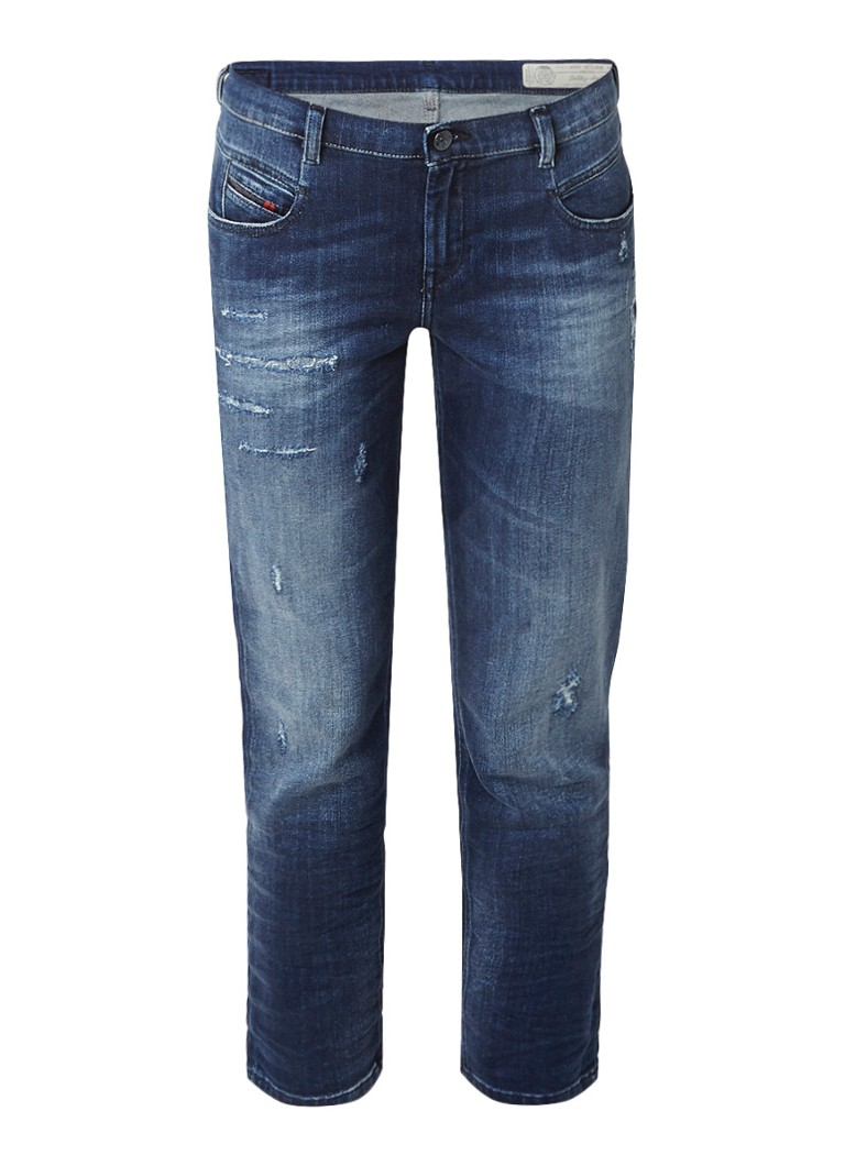 Diesel Belthy low rise straight fit jeans met destroyed detail 084GF