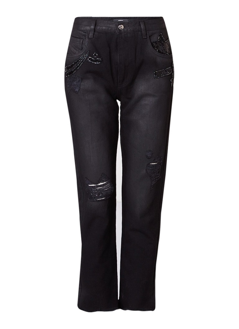 Diesel De-Clairy straight fit jeans met destroyed detail en strass