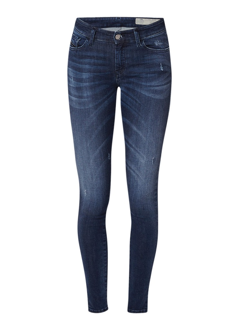 Diesel Slandy mid rise skinny fit jeans met destroyed detail