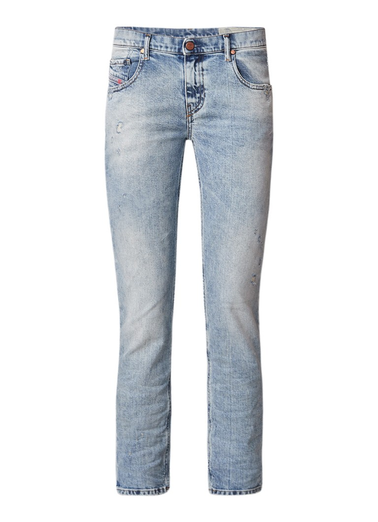 Diesel Belthy cropped slim fit jeans met destroyed detail 084RF