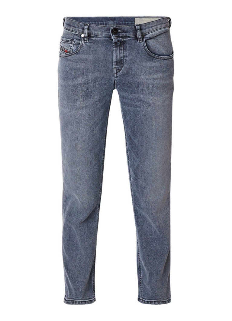 Diesel Belthy-Ankle-D low rise regular slim-straight jeans met medium wassing