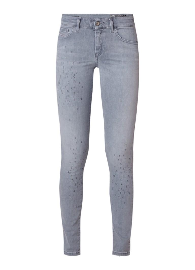 Diesel Slandy mid rise super slim-skinny jeans met destroyed details