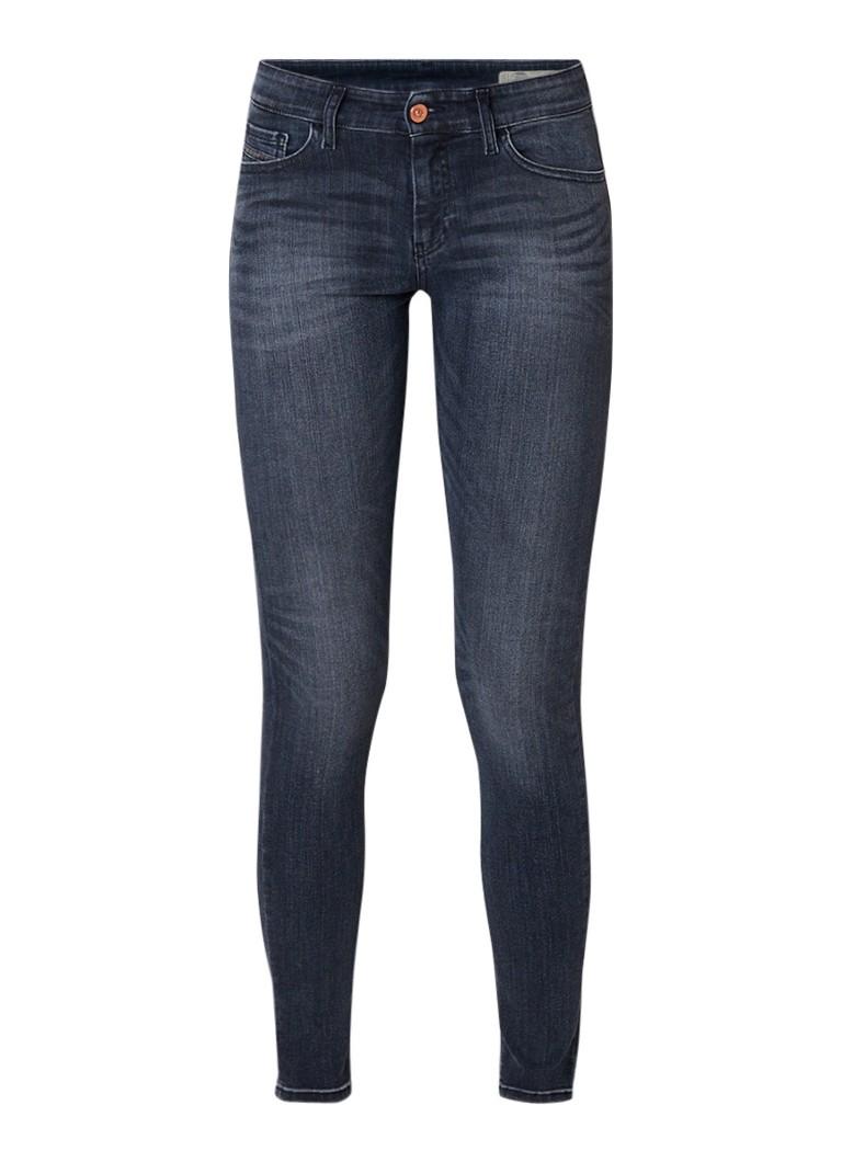 Diesel Slandy-Ankle mid rise super slim-skinny jeans met destroyed details
