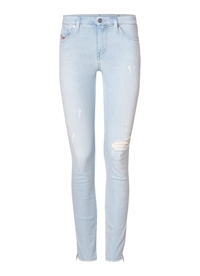 Diesel Skinzee-Zip mid rise super slim-skinny jeans met destroyed details