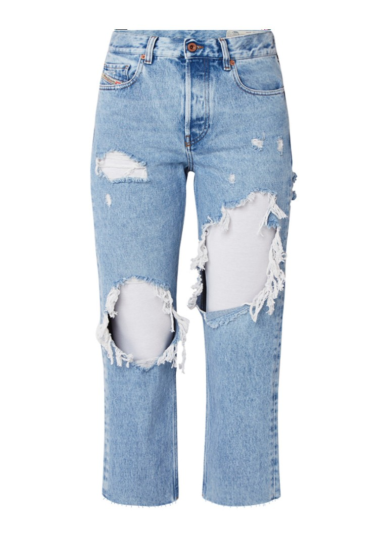 Diesel Aryel cropped straight fit jeans met destroyed details