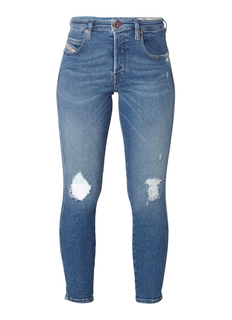 Diesel Babhila straight fit jeans met destroyed detail