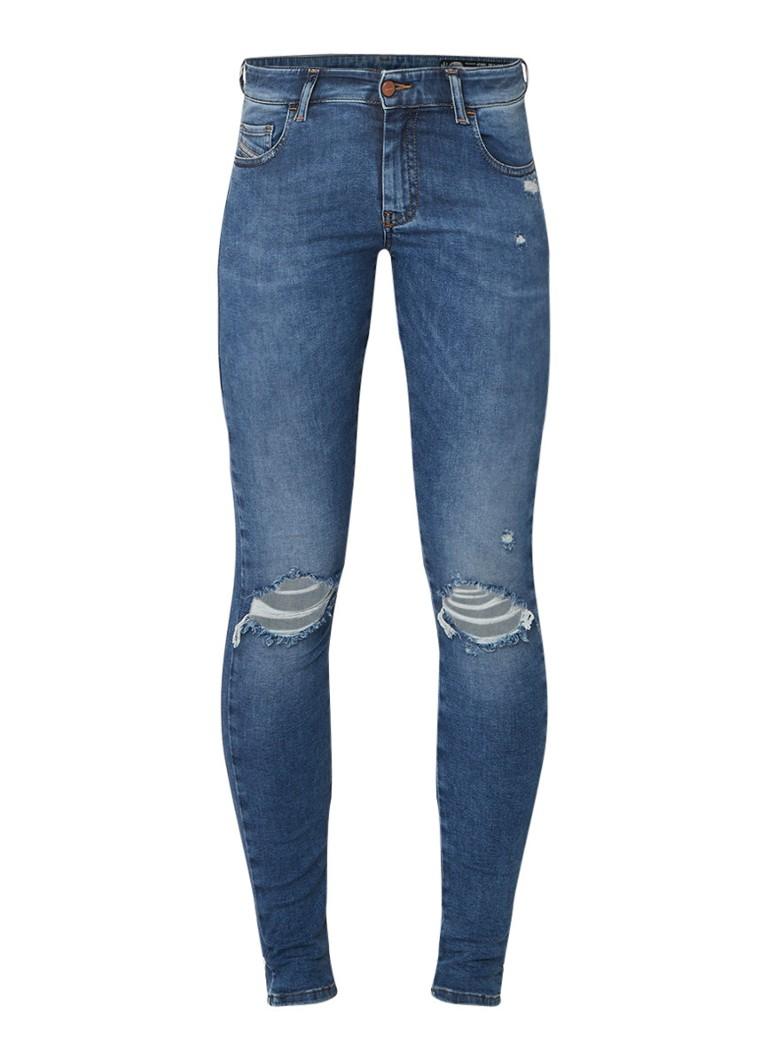 Diesel Slandy low rise super skinny fit jeans met destroyed details