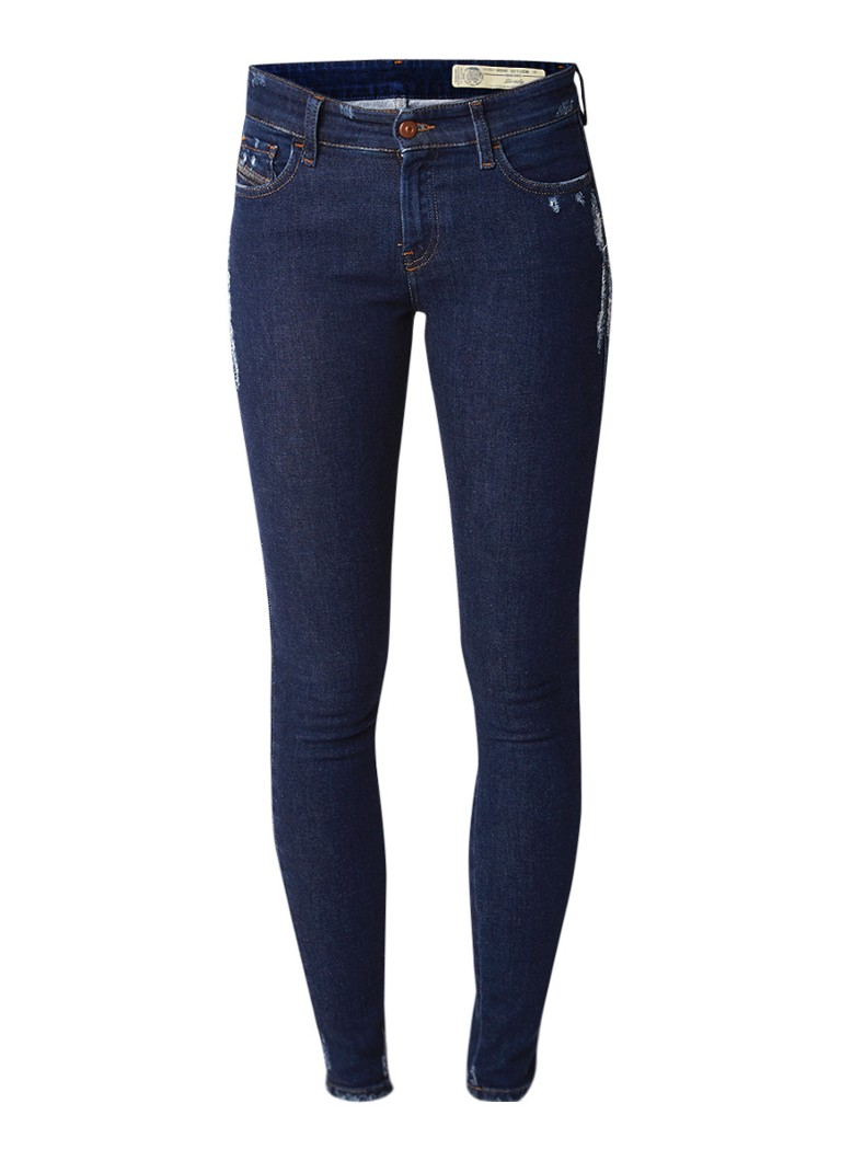 Diesel Slandy mid rise super slim-skinny jeans met destroyed afwerking 084ZA