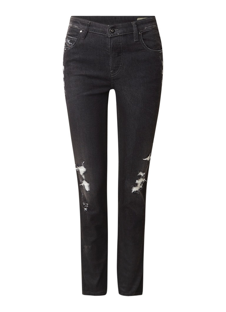 Diesel Babhila mid rise slim fit jeans met destroyed details