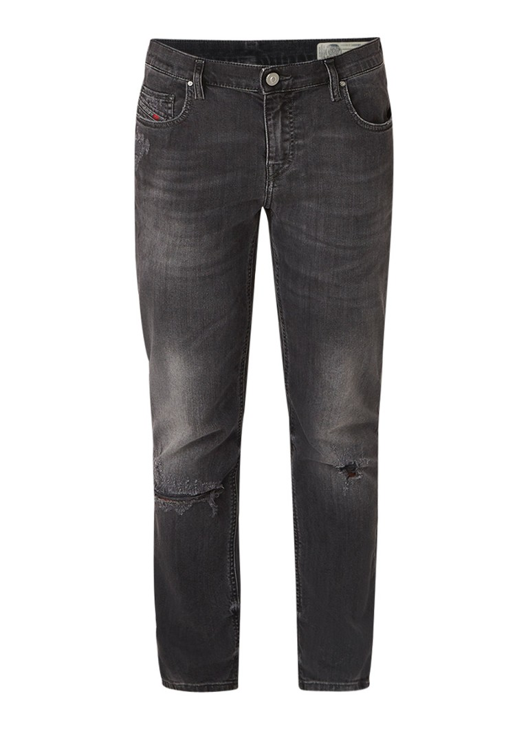 Diesel Belthy high rise straight fit jeans met destroyed details