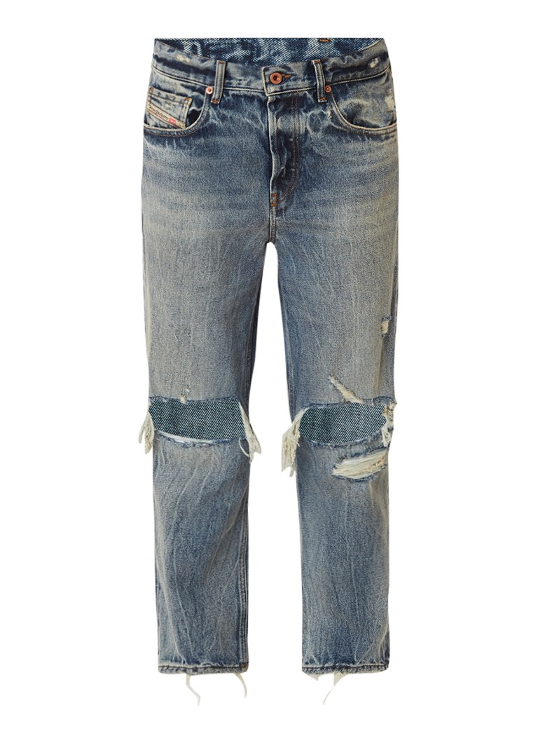 Diesel Aryel mid rise cropped Regular-Straight fit jeans met destroyed details
