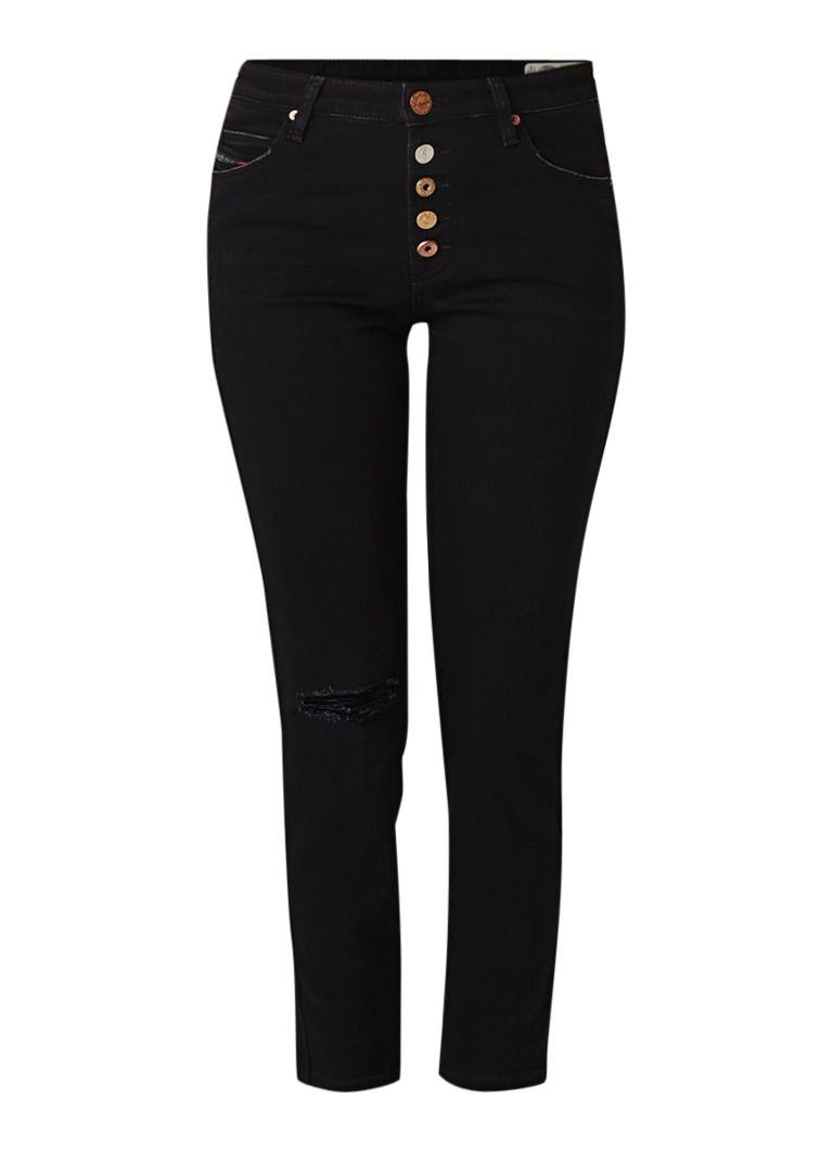 Diesel Babhila-B mid rise cropped slim fit jeans met destroyed details