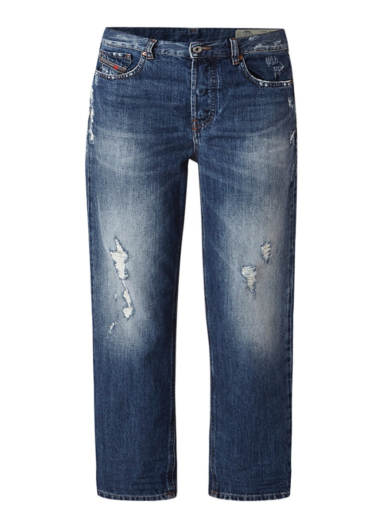 Diesel Aryel mid rise cropped straight fit jeans met destroyed details